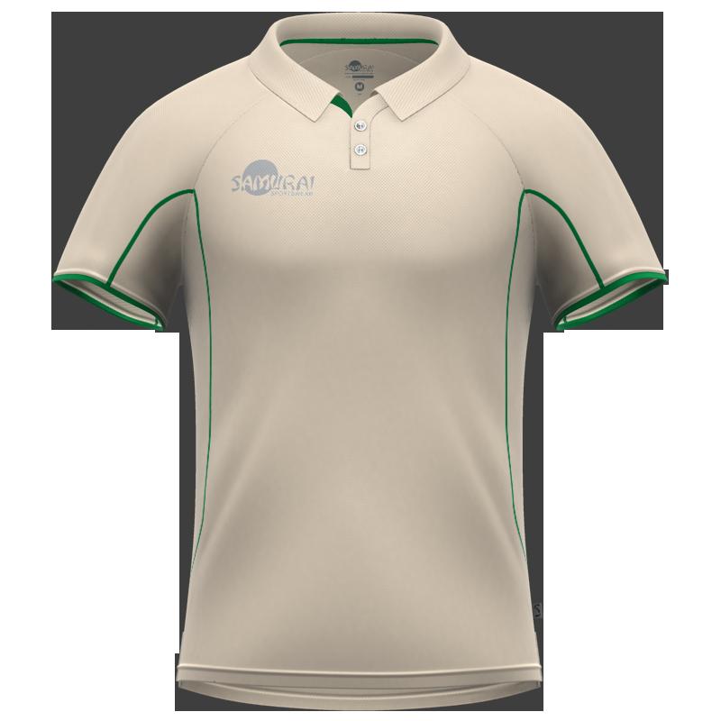 Samurai Green Short Sleeve Cricket Shirt Front