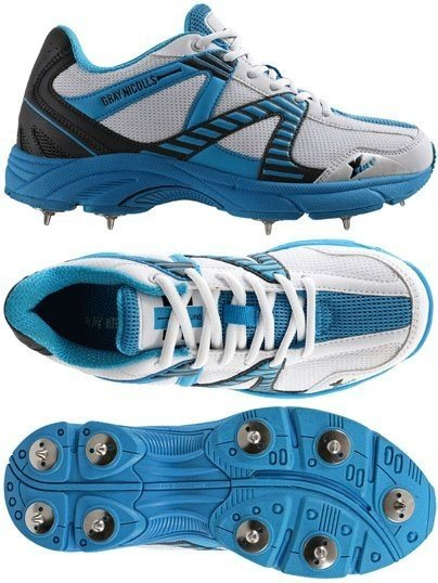 2017 Gray Nicolls Velocity Junior Blue Spike Cricket Shoes
