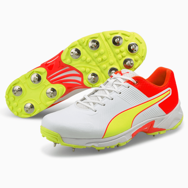 2021 Puma 19.2 Spike Cricket Shoes - White/Red/Yellow
