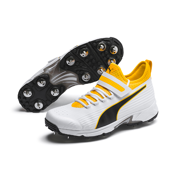 2021 Puma 19.1 Bowling Spike Cricket Shoes - White/Black/Orange