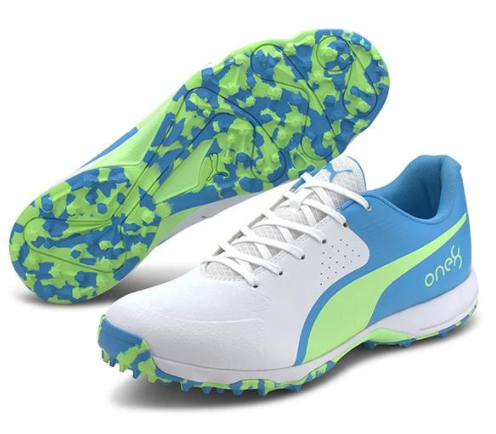 2021 Puma 19 FH Rubber Cricket Shoes - White/Blue/Green