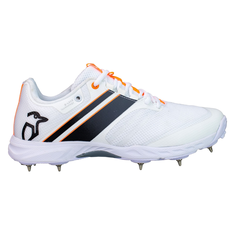 2021 Kookaburra KC 2.0 Spike Junior Cricket Shoes - White/Black/Orange