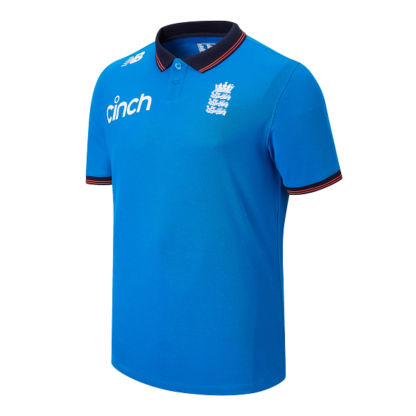 2021 New Balance England Cricket World Cup Replica Media Polo Shirt