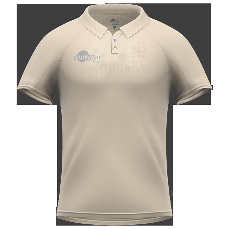 Samurai Cream Short Sleeve Cricket Shirt Back