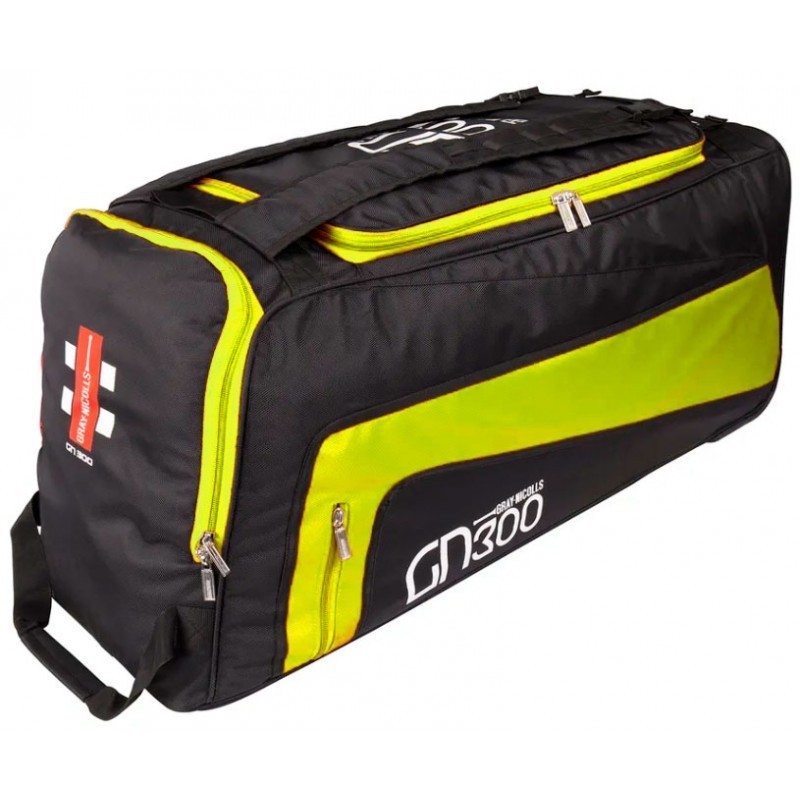 2021 Gray Nicolls GN 300 Wheelie Cricket Bag - Black / Fluo Yellow