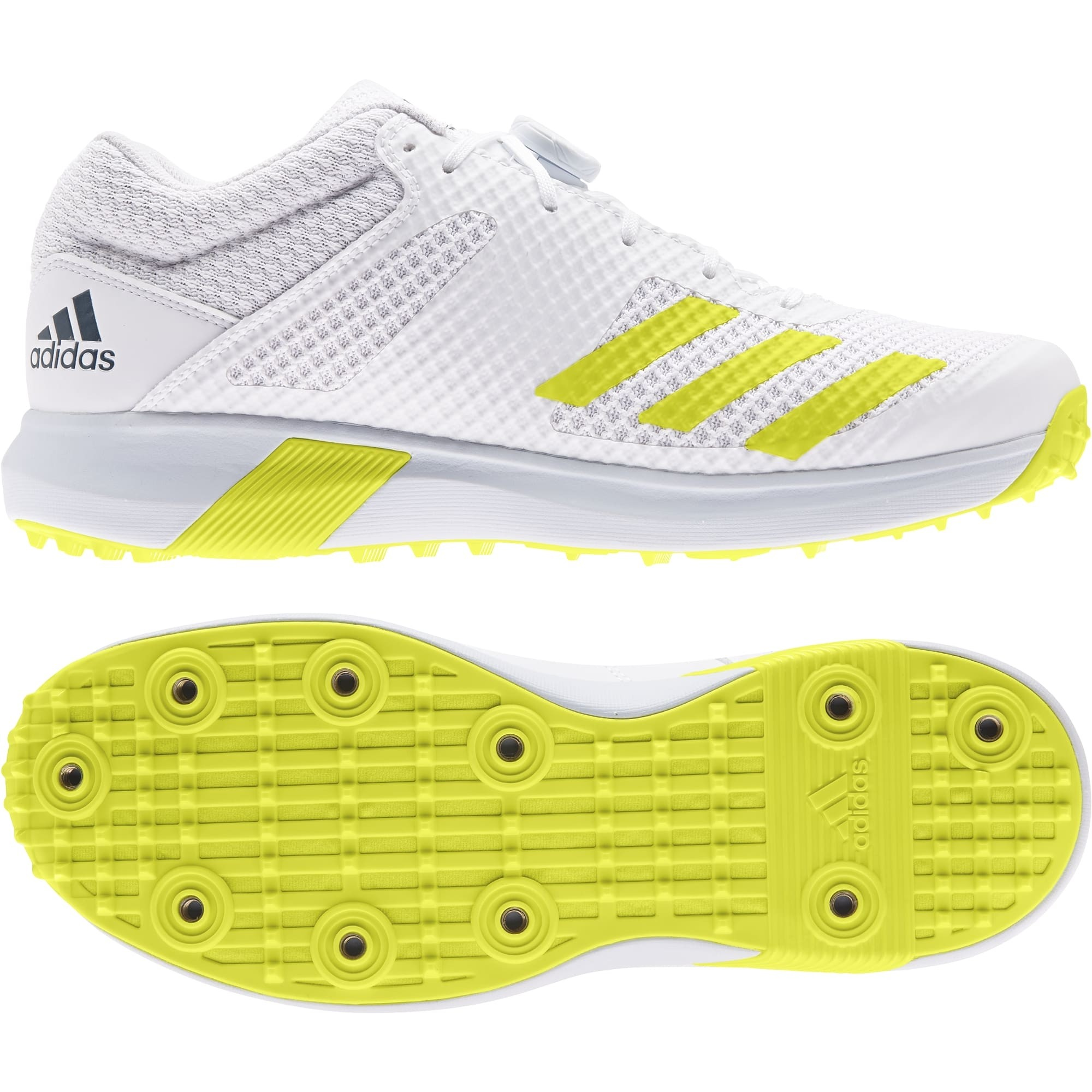 2021 Adidas AdiPower Vector Mid Bowling Cricket Shoes - Acid Yellow
