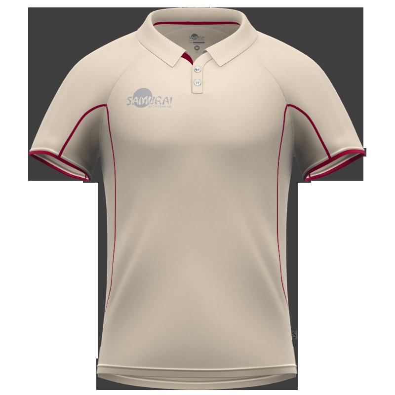 Samurai Junior Maroon Short Sleeve Cricket Shirt Front